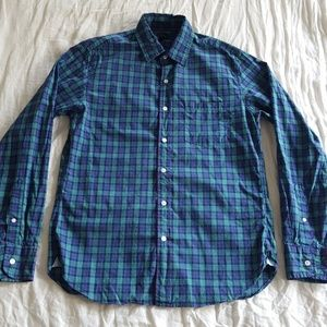 J. Crew Slim Plaid Button Down Shirt Blue Green